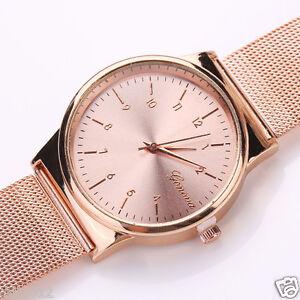 Geneva-Classic-Women-039-s-Ladies-Stainless-Steel-Mesh-Band-Quartz-Wristwatches-AU