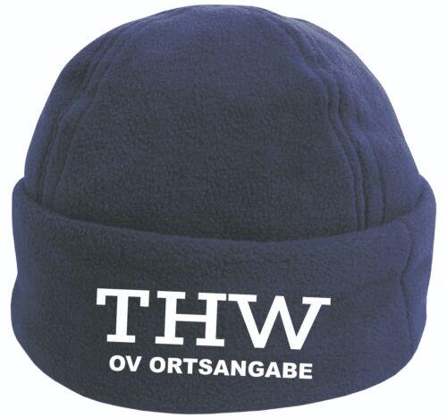 Fleece Cap Wintermütze Navy bedruckt THW Mütze