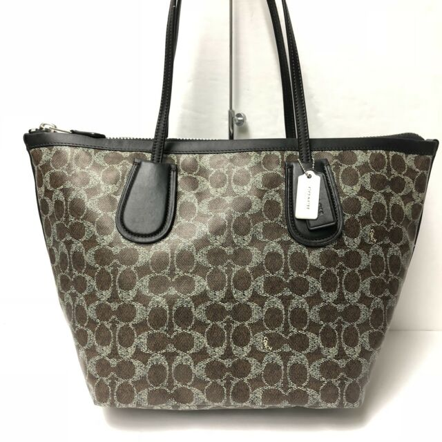 0ef7336c74db NWT Coach Signature Taxi Tote Zip Top BROWN BLACK Coated Canvas Linen 33504   295