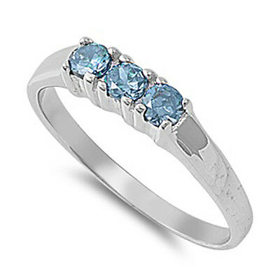 Sterling Silver Baby Small Woman's Aquamarine CZ Ring Cute Band 3mm Sizes 1-5