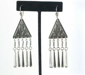 Vintage Embossed Silver Tone Screw Back Dangling Earrings