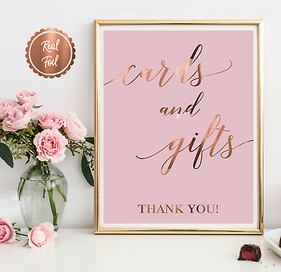 wedding gift table pink print cute Copper foil wedding sign cards /& gifts