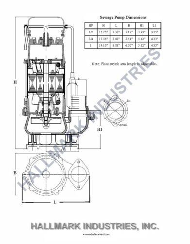 SS 1HP 115V Sewage Pump Max 7250 GPH Heavy Duty 20/' Cable /& Plug 49/' Lift