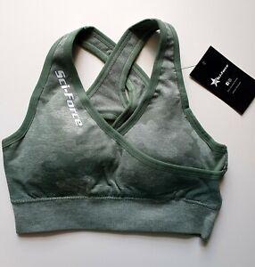 Women's GREEN SMALL Seamless Yoga Gym Crop Top Camo Sports Bra Fitness Shark