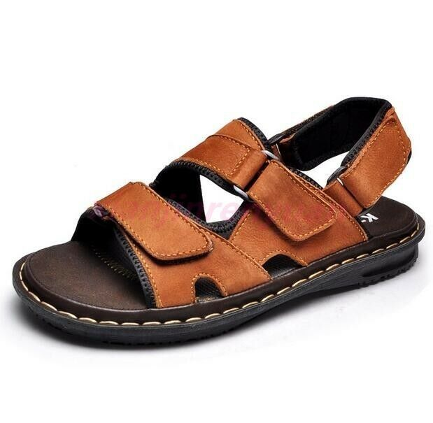Fashion Mens Open Toe Leather Sandals shoes Beach Slingback Slipper Flip Flops