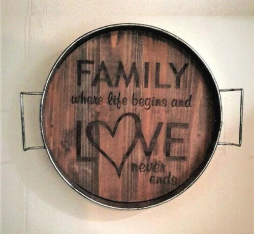 Rustic Wood Base Metal Rim SERVING TRAY WALL DISPLAY Family Love