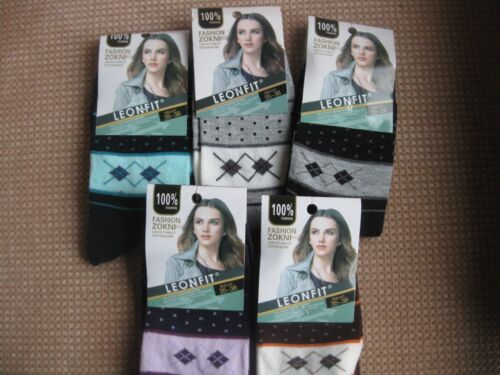 geometrico Signore//ragazze Calzini Di Cotone Da leonfit Taglie 3-5 5-7 vari colori