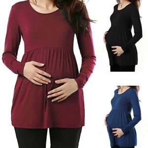 Women-Mom-Pregnancy-Casual-Solid-Ruched-Tunic-Top-Maternity-Blouse-Shirt-Clothes