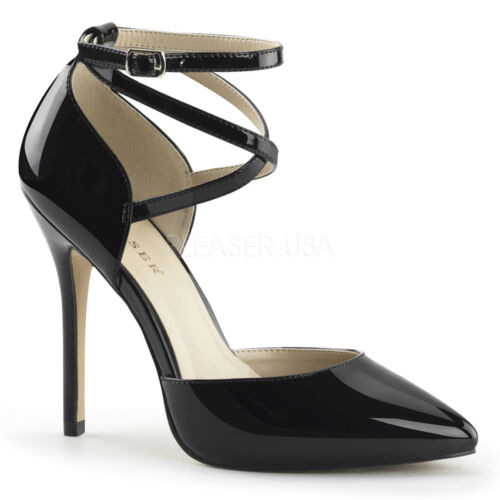 PLEASER 5 INCH STILETTO HIGH HEEL ANKLE STRAP SHOES AMUSE 25 SIZES 3-13 NEW
