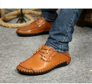 men's lace up casual moccasins leather driving boat loafer