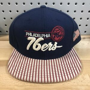 Philadelphia-76ers-NBA-Basketball-Mitchell-amp-Ness-Snap-Back-Retro-Cap-EUC-Hat