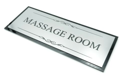 Black and Silver Massage Room Door Sign Large Size 20 cm x 8 cm