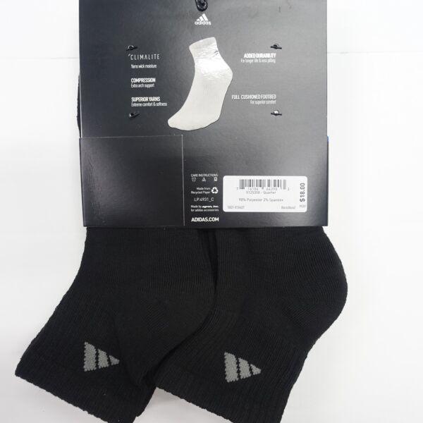 adidas Mens Athletic Crew Sock Black Aluminum 2 Pack of 6 Fits Shoe Size 6 12