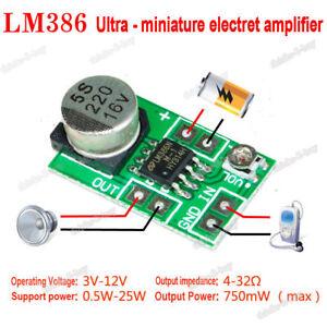 dc 3v 5v 12v mini lm386 audio power amplifier board micro amp module rh ebay com Micro Audio Amplifier Cards Micro Audio Amplifier Modules