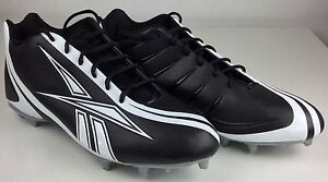 Size 15 Men s Reebok Black   White Football Cleats NFL Equipment NEW ... da9ee5afd
