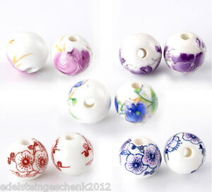 30-Mix-Porzellan-Keramik-Kugel-Ball-Spacer-Perlen-Beads-Millefiori-12mm