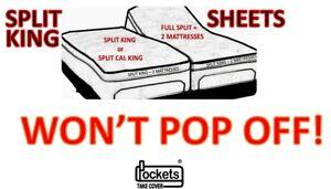 Won't Pop Off Sheets Black California Split King Queen Satin Top Sheet Options