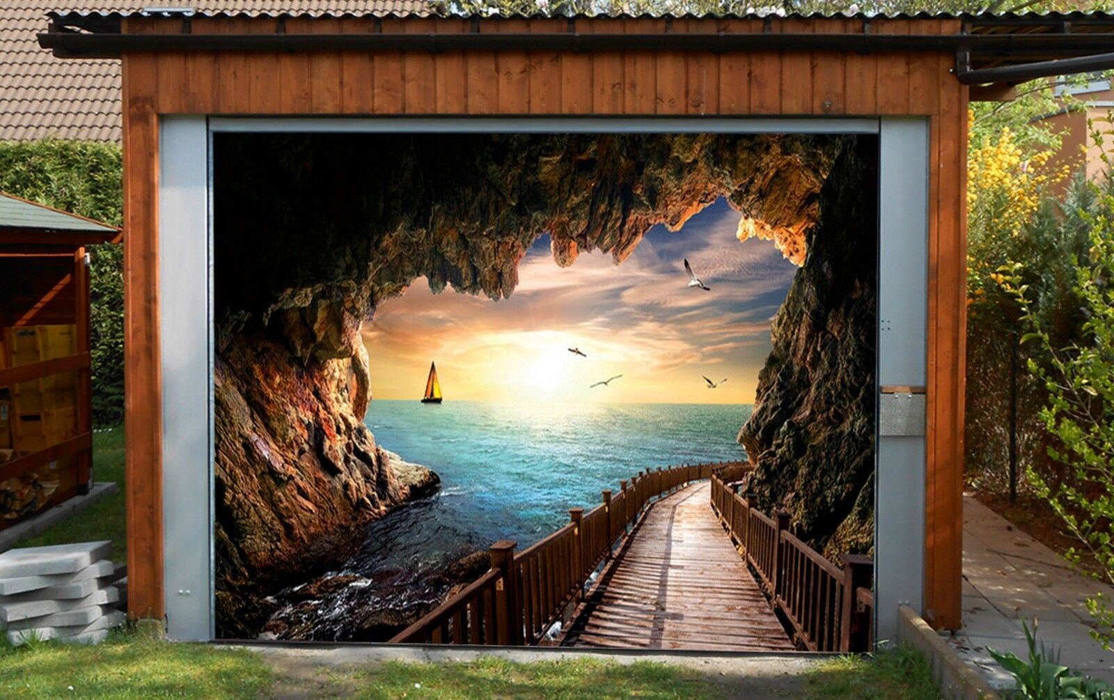 3D Sea, cave 88 Garage Door Murals Wall Print Decal Wall Deco AJ WALLPAPER AU