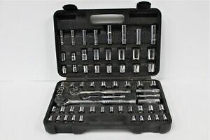 Pittsburgh-64-PC-Mechanics-Ratchet-Socket-Set-Used-Good-Condition-W-Hard-Case