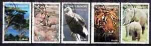 """St Thomas et Prince 1992 Animaux (14) Yvert n° 1128 à 1132 oblitéré used - France - Commentaires du vendeur : """"série complte de 5 timbres oblitérés"""" - France"""