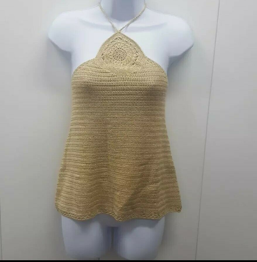 Lucky Brand Gold Knit Halter Top. Sz. L