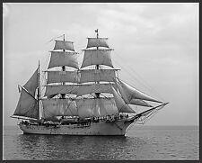 "1907 Schooner Ship Sailing, Beautiful antique view, 20""x16"" Photo"