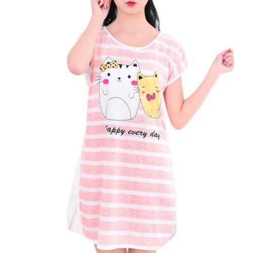 Womens Summer Plus Size Short Sleeve Lovely Cartoon Pattern Printed Sleepshirt