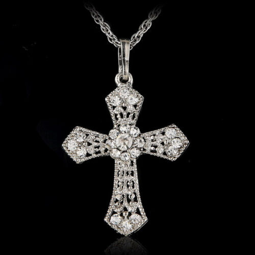 Cyc GF Nuevo Silver Jewelry Cross Crystal Pendant Sweater Chain Necklace Women