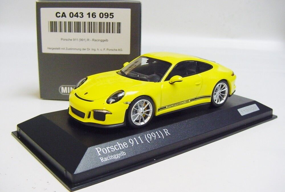 1 43 Minichamps 2016 Porsche 911 991 R Amarillo Coche Tima exclusiva edición limitada. 200 piezas.