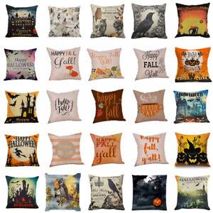 Happy Halloween Pillow Case Sofa Cushion Cover Print Home Waist Pillowcase Decor
