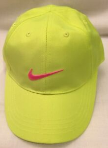 2428c5503ce Nike Neon Green w Embroidered Hot Pink Swoosh Ball Cap Hat Youth ...
