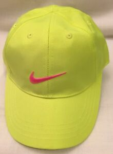 Nike Neon Green w Embroidered Hot Pink Swoosh Ball Cap Hat Youth ... 504ab23a7f5