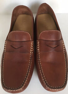 Cole Haan Mens Brown Tan Leather Penny Loafers  Driver Shoes Slip On size 7.5 W