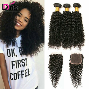 Kinky-Curly-Bundles-With-4-4-Free-Part-Lace-Closure-Brazilian-Virgin-Human-Hair