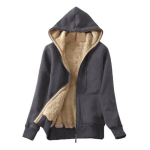 New-Women-039-s-Casual-Spring-Warm-Sherpa-Lined-Zip-Hooded-Sweatshirt-Jacket-Coat