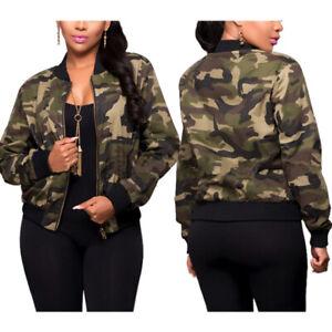 Women-Long-Sleeve-Camo-Camouflage-Bomber-Jacket-Army-Zipper-Outwear-Cropped-Coat
