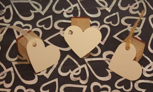 Handmade Red //Silver //Ivory Pearlescent Heart Gift tags//labels