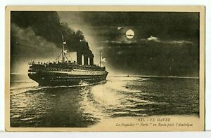 SS-PARIS-The-French-Line-Underway-for-America-under-the-Moon-1921-30-Postcard