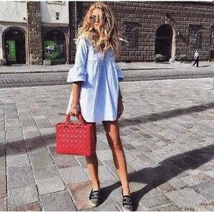 Zara kleid volant blau