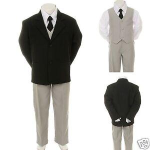 New Kid Child Boy Black FORMAL Wedding Party Tuxedo Suit Lime Necktie sz 5-14