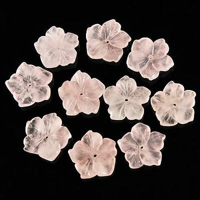 g0014 15mm 10pcs carved rose quartz flower pendant beads