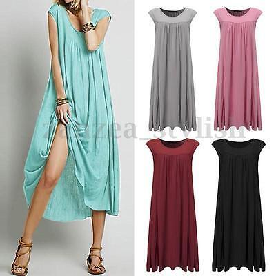 Women's Summer Sleeveless Cotton Loose Baggy Boho Long Maxi Dress Beach Sundress