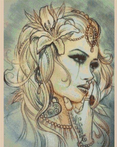 Lady Lily Nº 447 cross stitch chart Flowerpower 37-uk