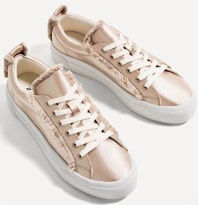 467af74a91c New Zara TRF Women Satin Fabric Champagne Fashion Sneakers Shoes 11 ...
