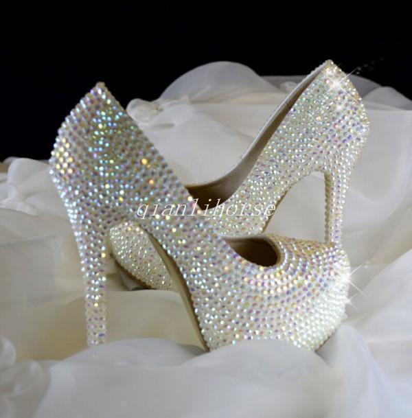 femmes High Heels Platform Diamond Decor Party Pumps Stilettos Wedding @chaussures