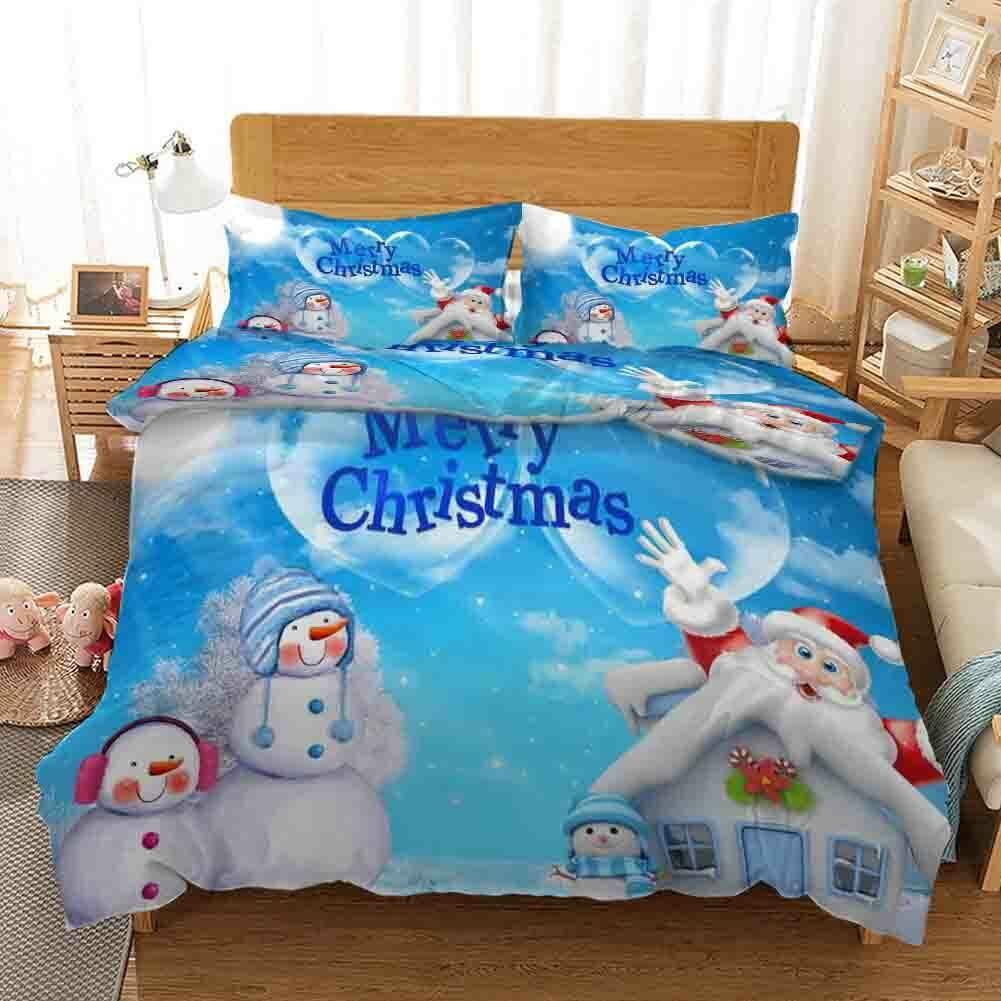 Blau Snowman Nice Hat 3D Printing Duvet Quilt Doona Covers Pillow Case Christmas