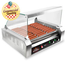 Commercial Electric 30 Hot Dog 11 Roller Grill Cooker Machine 1200 Watt W Cover