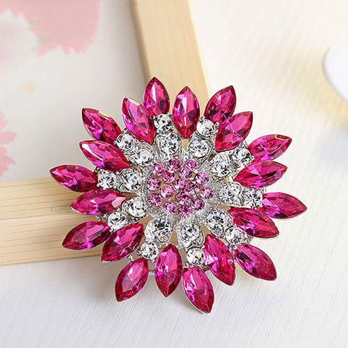 /_ Mujer Moda Flor Broche Cristal Estrás Joyería para Boda Fiesta Nov Por ejemplo