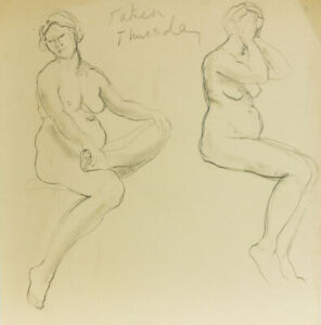 Elinor-Bellingham-Smith-Early-20th-Century-Graphite-Drawing-Seated-Nudes