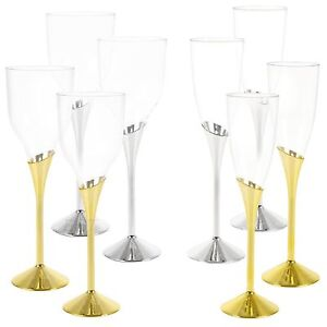 Plastic Wine Champagne Glasses Gold Silver Disposable Party Tableware Pub